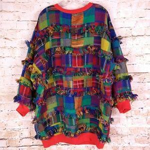 Fringe Rag Sweater Plaid Pullover Sz L 70s Vintage